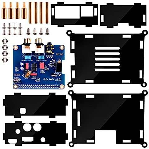 Kuman SC08C I2S Interface PiFi DIGI DAC + HIFI Digital Audio Sound Card + Acrylic Case für Raspberry Pi B+/2B,Shield + V2.0