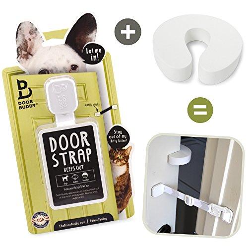 Door Buddy Türschloss Plus Türstopper. Halten Sie den Hund von der Katzentoilette fern und verhindern Sie das Schließen der Tür. Perfektes Haustier-Tor und Katzen-Tür-Alternative! (Grau)