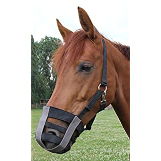 Amesbichler Pferdemaulkorb Fressbremse, Maulkorb für Pferde Weidemaulkorb bei Rehe, Kolik, VerfettungTextil ohne Gummi, leicht zu befestigen verstellbar, Gr. Pony