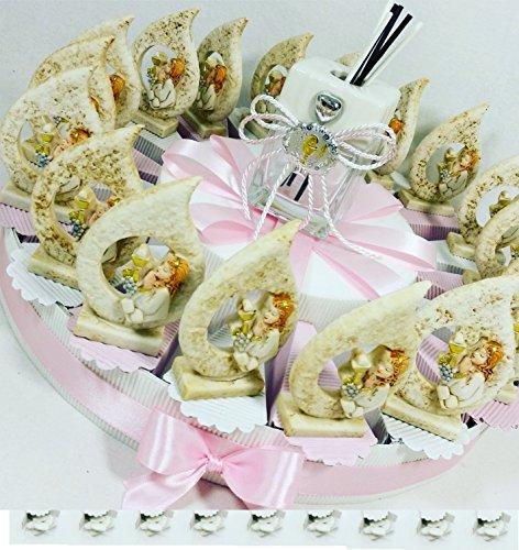 Bomboniere comunione battesimo cresima con torta bomboniera spedizione gratis kkk (torta 20 fette bambina goccia+centrale profumatore + confetti crispo)