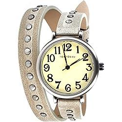 Tokyo Bay TL427-ST Frauen braunes Lederband Beige Dial Analog Watch