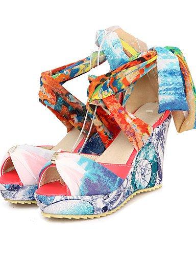 LFNLYX Chaussures Femme-Habillé / Décontracté-Rouge / Beige / Amande-Talon Compensé-Bout Ouvert-Sandales-PU Red