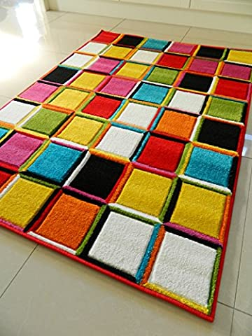 MULTI COLOURED 3D SQUARES DESIGN FUNKY BRIGHT MODERN THICK SOFT