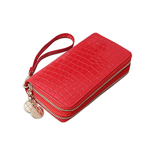 Portafoglio ampio da donna in pelle morbida di lusso con grande capacità e 2 tasche con cerniera Rosso