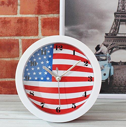 Personalità Creative soggiorno orologio in studio di arte in Europa e America vintage negli Stati Uniti Regno Unito le bandiere una piccola sveglia orologio desktop,Stati Uniti