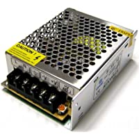 Takestop® - Fuente de alimentación/transformador de 12V, 5A, para tira LED, cámaras de vídeo DVR estabilizado con trimmer e interruptor