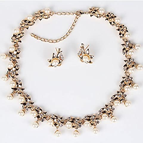 putny (TM) pn12318classica imitazione perla set di gioielli fiore placcato oro, design sposa donna regali del partito set collana e orecchini - Metallo Perle Collane Party Favors