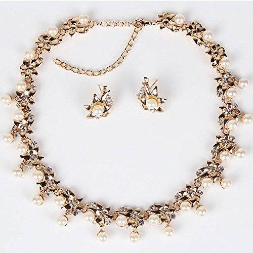 Valoxin (TM) PN12318classico imitazione perla parure placcata oro design floreale da sposa gioielli set orecchini collana da donna party regali - Metallo Perle Collane Party Favors