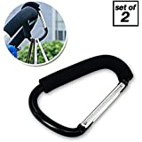 Pro Stroller Hook | Set Of 2 Amazing Black Accessory Carabiner Clips On Baby Toddler Stroller Car Seat Bike Wheelchair For Secure Purse Diapers Bag Groceries Household | 1331.2