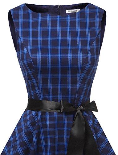 Gardenwed Damen Vintage 1950er PartyKleid Rockabilly Ärmellos Retro CocktailKleid Navy Grid