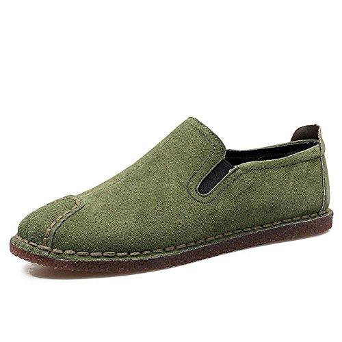 WYWQ Chaussures de sport à talons bas pour hommes Confort Automne Loisirs Faible Aide Non-Slip Light Walk intérieur et extérieur paresseux Chaussures Taille khaki green