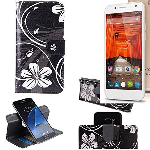 K-S-Trade Schutzhülle für Swees Godon X589 Hülle 360° Wallet Case Schutz Hülle ''Flowers'' Smartphone Flip Cover Flipstyle Tasche Handyhülle schwarz-weiß 1x