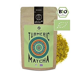 alveus® Turmeric Matcha: No Added flavouring. Ingredients: Turmeric Powdered*, Green Tea Matcha* (30%). *Certified Organic