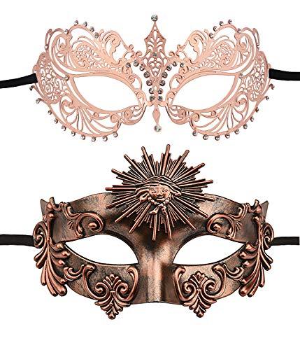Paar Griechische Kostüm - KEFAN Paar Masquerade Maske Set Venezianische Party Halloween Prom Maske (Schwarz + Silber)