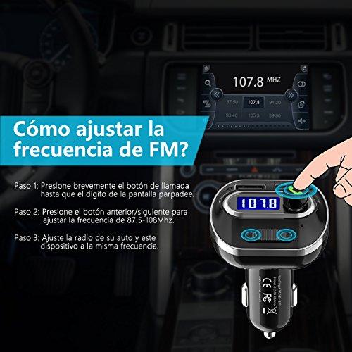 VICTSING Transmisor FM Bluetooth 4.1 para Coche,Mini Manos Libres Emisor,AUX Salida,Radio Adaptador y Reproductor de MP3,USB Cargador de Coche sin Instalacion,Tarjeta TF,para Móviles,Tablet,etc-Negro