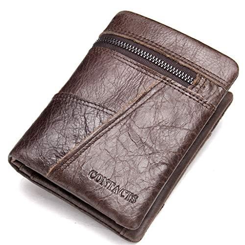 Brieftasche Herren, Mens Wallet Echtes Leder Kurze Trifold Stitching Wallet Mit ID Fenster Reißverschluss Münzfach Geldbörse (Farbe : Brown) -