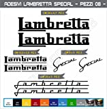 Adesivi stickers LAMBRETTA Special kit 08 Pezzi -SCEGLI COLORE- moto motorbike Cod.0556 (Nero cod. 070)