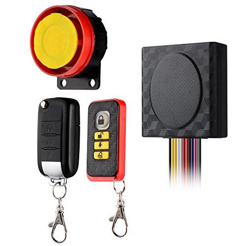 Samoleus Motorrad Alarmanlage Fahrrad Alarm Anti Diebstahl Sicherheit Motorrad Alarmschloss mit 2 Fernbedienung 12v Universal