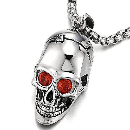 Grande Calavera Cráneo Collar con Colgante con Circonita Roja, Hombre Mujer, Acero Inoxidable, Cadena de Trigo 75CM
