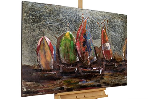 KunstLoft Extravagantes Metallbild 3D 'Around The World' 120x80x8cm | Design Wanddeko XXL handgefertigt | Unikat Wandskulptur | Segeln Meer Bunt Boot Schiff Wasser | Wandbild Relief modern