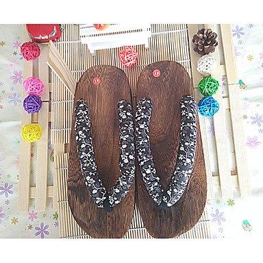 Slippers & amp da uomo;Estate Slingback cotone casuale Heel Flat Black blu scuro Marrone Blu Roya sandali US10 / EU43 / UK9 / CN44
