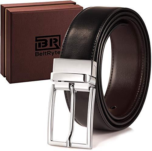 BeltRyte Herren-Gürtel, Ledergürtel für Männer in Schwarz und Dunkelbraun 110cm