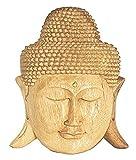 Maske Holzmaske Buddha Abbild Wanddekoration Relief aus Soar Holz braun, Buddhakopf Höhe 25 cm handgefertigt Kunsthandwerk aus Bali