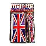 Kit Scolaire à Thème Union Jack - Drapeau Britannique / Trousse / Crayon / Règle / Gomme / Taille-crayon / Souvenir Anglais de Londres Royaume Uni