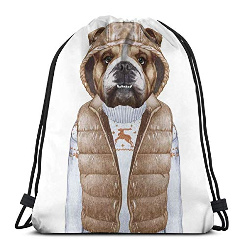 Juziwen Printed Drawstring Backpacks Bags,Illustration of Urban Puppy As A Human In A Down Vest and Xmas Sweater,Adjustable String Closure Mesh-shooting Vest
