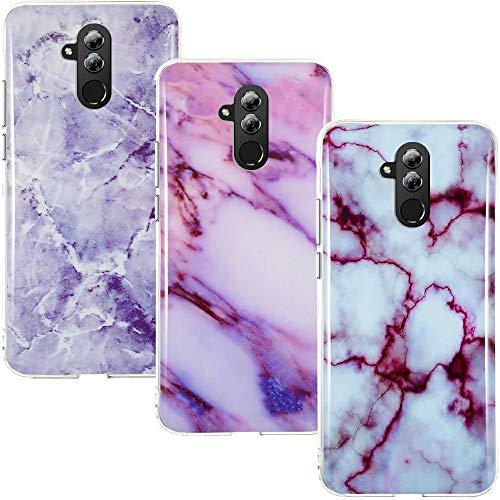 CLM-Tech Hülle 3X kompatibel mit Huawei Mate 20 Lite, TPU Silikon-Hülle Case Schutzhülle Handyhülle 3er Set, Marmor lila weiß Mehrfarbig