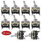NATEE 10 Pcs Interruttore a Levetta, Interruttore a Bilanciere DPST ON-OFF E-TEN1021 2 Pin 15A 250V/AC pour Auto