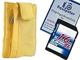 Poppige trendige Kamera Tasche in GELB + Schutzfolie + 16GB SDHC Flashraptor Speicherkarten EQUIPSTER EDITION - weiche Innenpolsterung - tolles Design - ideal für Ihre Kameras der Modelle : Fujifilm FinePix F770EXR F800EXR F80EXR Z90 F300EXR F500EXR F550E