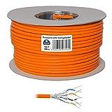 HB-DIGITAL Netzwerkkabel LAN Verlegekabel Cable 100m cat 7 Kupfer Profi S/FTP PIMF LSZH Halogenfrei Orange RoHS-Compliant cat. 7 Cat7 AWG 23/1