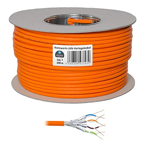HB-DIGITAL Netzwerkkabel LAN Verlegekabel Cable 100m cat 7 Kupfer Profi S/FTP PIMF LSZH Halogenfrei Orange RoHS-Compliant cat. 7 Cat7 AWG 23/1 (Cisco Wireless-netzwerk-adapter)