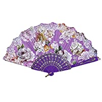 LKJH Portable Beste Chinese stijl Dance Party Wedding Lace Silk Folding Hand Held Fan Flower Home Decoration Vintage Chinese Fans Wind (Color : Purple)