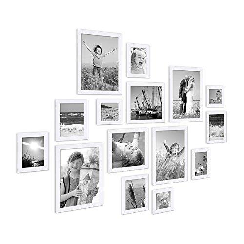 15er Set Bilderrahmen Modern Weiss Massivholz 10x15 bis 20x30 cm inklusive Zubehör zur Gestaltung einer...