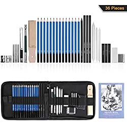 GHB 36 Stück Bleistifte Skizzierstifte Set Skizzieren und Zeichnen Professionelle Art Set mit Graphitkohlestifte Sticks Werkzeuge und Kit Bag
