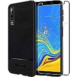 ebestStar - [Compatibile Cover Samsung Galaxy A7 2018 SM-A750F [159.8 x76.8 x7.5mm, 6.0''] Custodia Protezione Silicone Gel TPUPelle Design, Nero +Pellicola Vetro Temperato [NB: Leggere Descrizione]