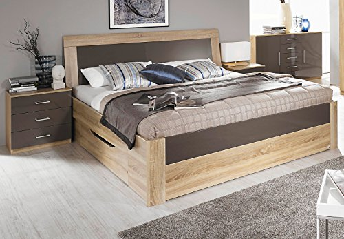Rauch Bett mit 1 Schubkasten Eiche Sonoma/Hochglanz lavagrau 100 x 200 cm