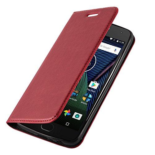 Lenovo (Motorola) MOTO G5 Hülle in ROT von Cadorabo - Handyhülle mit unsichtbarem Magnetverschluss Standfunktion und Kartenfach Case Cover Schutzhülle Etui Tasche Book Klapp Style in APFEL ROT