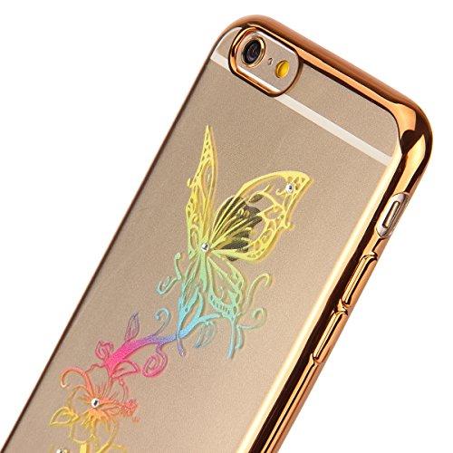 iPhone 6/6S plus 5.5 Custodia,Ukayfe Premium Transparent Dipinto Chiaro Case Cover Bumper Copertina Morbido in Silicone Gel e TPU pelle,Trasparente Ultrasottile 3D Fashion Fiore Paesaggio Case Vernici Oro farfalla 1#