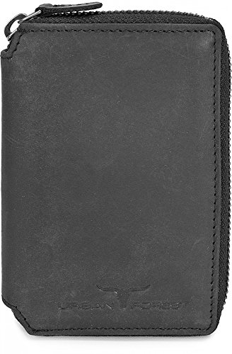 Leder Geldbörse Portemonnaie Lederbörse Brieftasche Geldbeutel Hochformat mit Reißverschluss aus echtem Leder in Farben Schwarz Braun Cognac von URBAN FOREST, Farbe:Schwarz (Brieftasche Mit Reißverschluss)