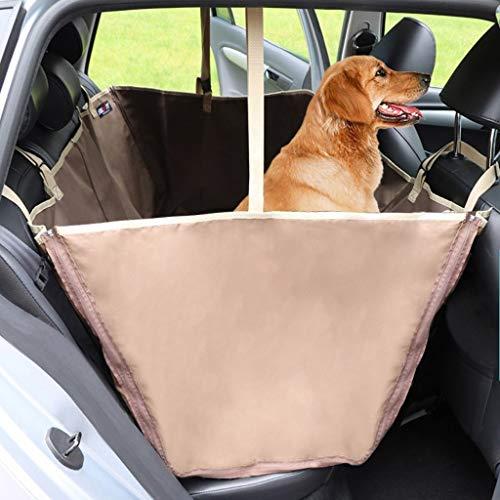 HOSHT Autoschondecke für Hunde Rücksitz mit Seitenschutz, Universalgröße Kratzfest rutschfest Wasserdicht Abriebfest Ideale Comfort Hund Autositzbezug (Farbe : Braun)