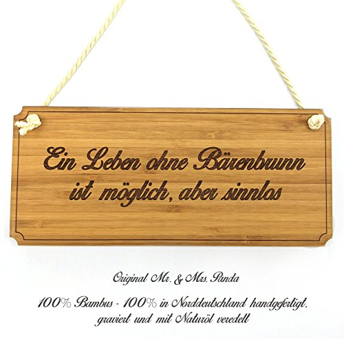 Mr. & Mrs. Panda Türschild Stadt Bärenbrunn Classic Schild - Landhaus, Shabby, graviert Türschild, Schild, Türschild, Dekoschild, Deko, Einrichtung, Nostalgie, Geschenk, Fan, Fanartikel, Souvenir, Andenken, Fanclub, Stadt, Mitbringsel
