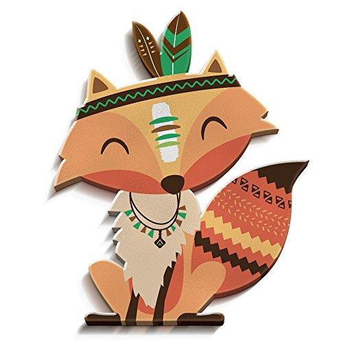 luvel® - Indianer Fuchs 22 x 26cm als Kinderzimmer Deko in 3D Effekt - TOP Qualität - 10mm Kunststoff