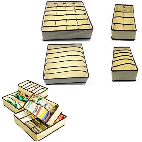 JZK® 4 x Vliesstoff aufbewahrungsbox Set Stoff kleideraufbewahrung Box schrank schublade faltbox für unterwäsche, BHs, socken, leggings, taschentücher, schals etc, beige