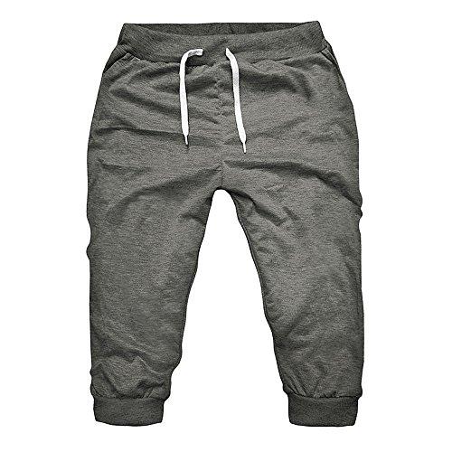 JYJM Sommer Männer 7 Sieben Hosen Gym Workout Jogging Shorts Hosen Fit Elastische Trend Baumwolle Lässige Füße Hosen(Tief Grau Size:M)