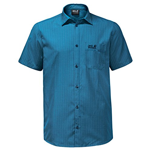 Jack Wolfskin Herren EL DORADO Shirt Größe L Ocean Blue Checks (Button Shirt Blue Down Check)