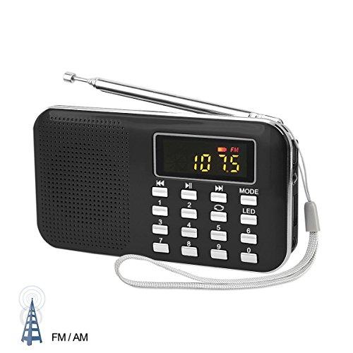 PRUNUS Mini radio AM/FM ad altoparlante singolo. Lettore musicale MP3, Supporto micro sd / USB, con funzione torcia di emergenza ricaricabile.