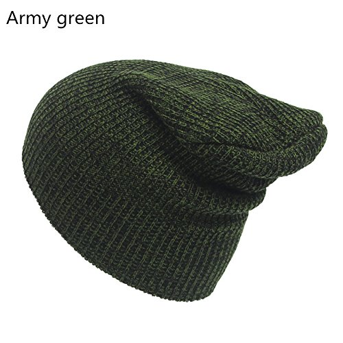 Cap Knit Army (wangsoar Winter Casual Cotton Knit Hat Men Baggy Beanie Hat Crochet Outdoor Ski Cap Street Dance Mask Skullies Toucas Gorros Army green)
